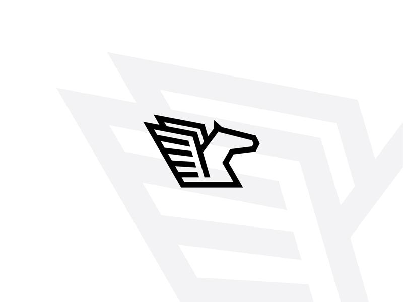 Pegasus logo wings white stallion simple pegasus monoline minimal mark logo horse black and white black