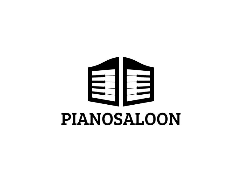 Piano Saloon logo western simple saloon piano keys piano music mark logo keys black and white black art