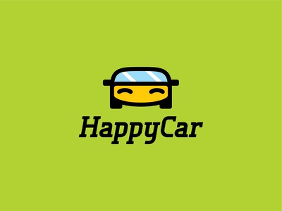 Happy Car logo simple mark logotype logo happy design concept character car branding brand auto