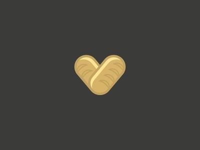 Love of Bread baguette brand branding bread design heart illustration logo logotype love minimal vector