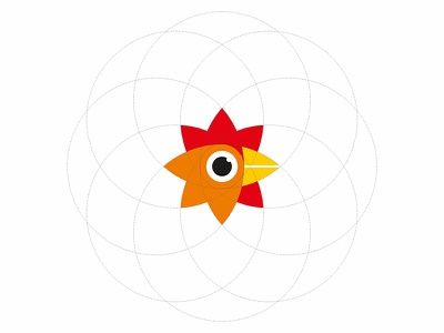 RooStar grid simple new year lunar logotype logo illustration flat cock chinese bird animal 2017