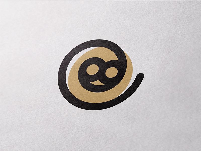 GiveChimp spiral simple paper monkey minimal mark logotype logo circle branding brand animal