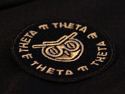 Theta Pi Theta owl patch patch owl logotype logo golden identity embroidery branding brand black bird badge
