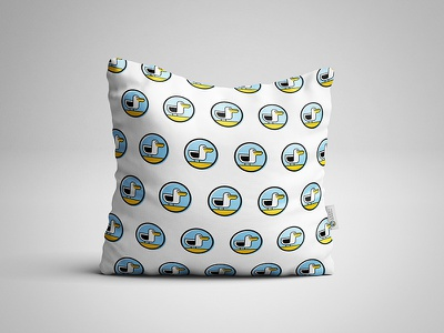 Happy Seagull pillow vector modern mark mascot logo identity fun design colorful branding bird animal