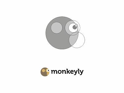 Monkeyly logo animal brand branding chimp domain graphic flat grid identity logo mark monkey