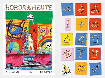 Hobos Today cover art orientation hobo code communication symbol sign sticker design illustration