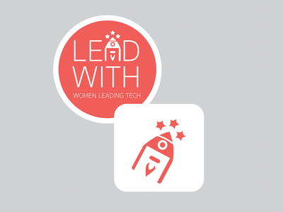 Lead With Logo Stickers logo women tech