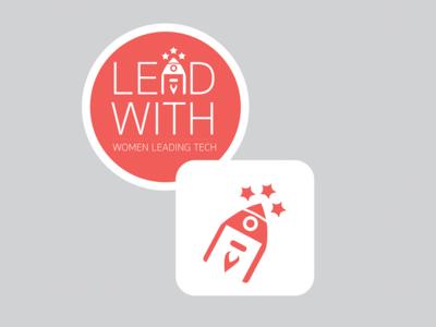 Lead With Logo Stickers logo women tech