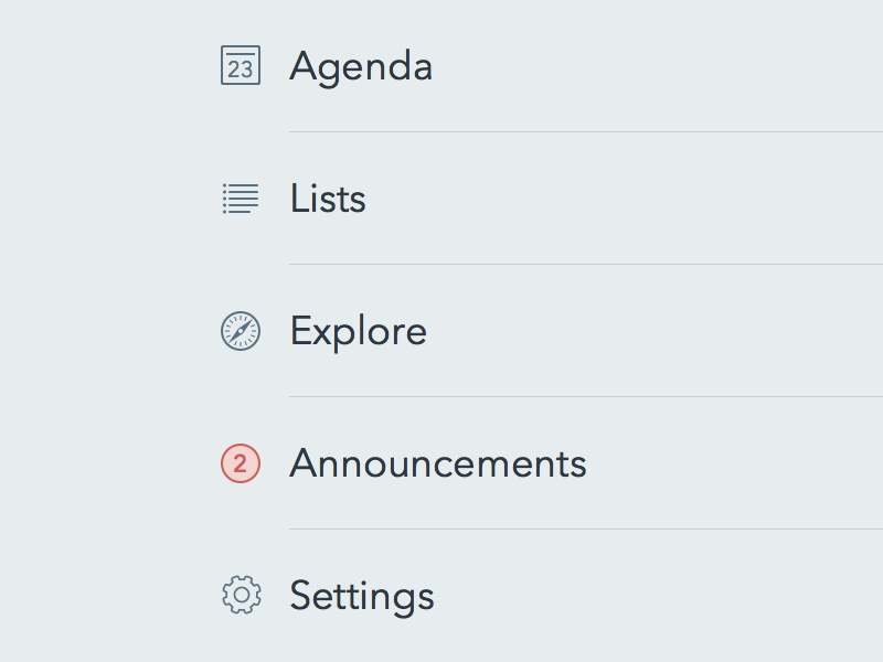 Navigation sketchapp nav menu icons notification agenda lists explore announcements settings