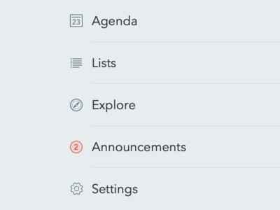 Navigation sketchapp nav menu icons notification agenda lists explore announcements settings