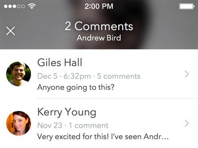 Event Comments avenir next ios sketchapp comments circle avatars blur