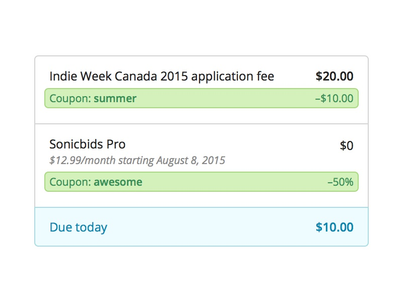 Sonicbids Fee Structure discount coupon pricing line items
