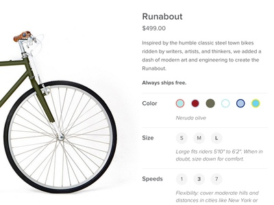 Brilliant Bicycle Product Page product page color select shopify bicycle ecommerce