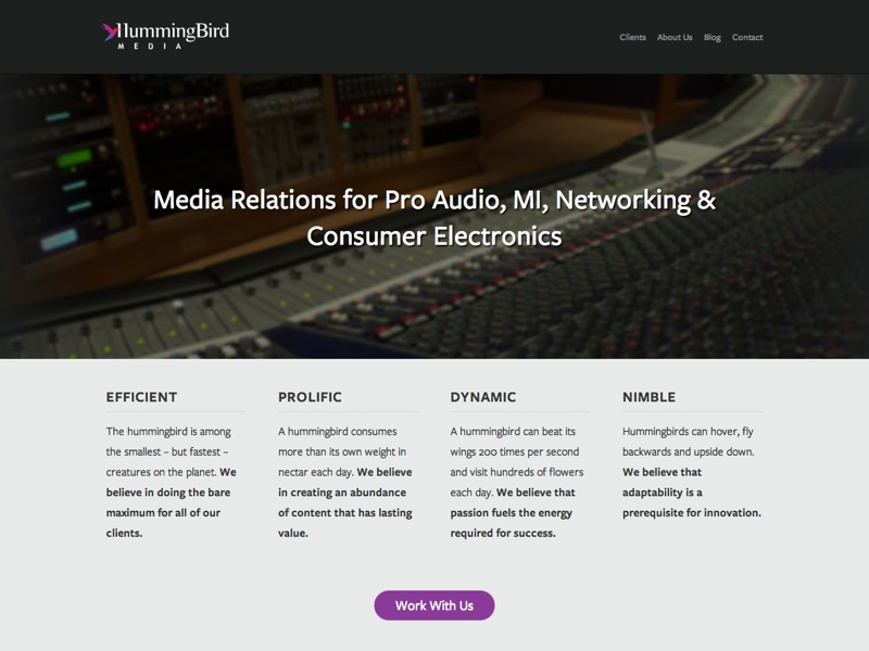 Hummingbird Media Website homepage hero freight sans pro