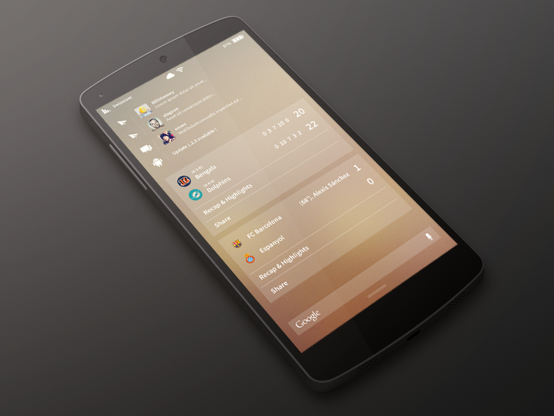 [WIP] Android Redesign | Notification Panel ui android nexus 5 redesign kit kat flat clean sweet font smartphone