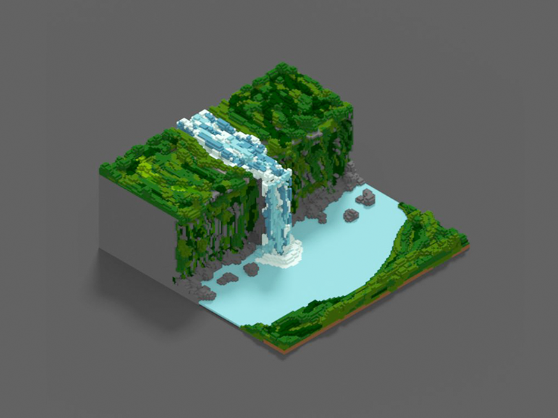 Voxel experiment | The Cascade by Mathieu Croset 🍜 on Dribbble