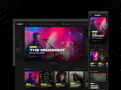 Flex Club Vienna. Homepage concept scrolling bidirectional club music website concept dark black webdesign website web