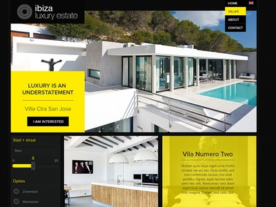 Ibiza Luxury Estate clean yellow branding design browser villa ui interface holiday ibiza website web