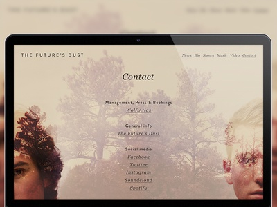 Website shot for The Future's Dust