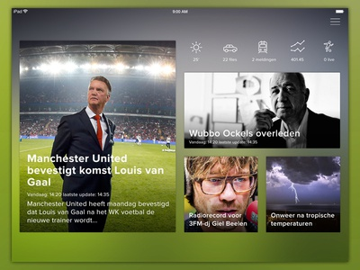 Local news app interface ios clean tablet news peperzaken app ux ui design