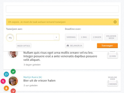 Detail shot Penny, a todo app for teams agenda todo team desktop responsive mobile web peperzaken interface ux ui design