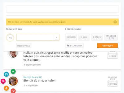 Detail shot Penny, a todo app for teams agenda todo team desktop responsive mobile web peperzaken interface ux ui design