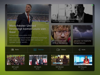 Multimedia menu for Local News App media ipad tablet news interface app peperzaken ux ui design