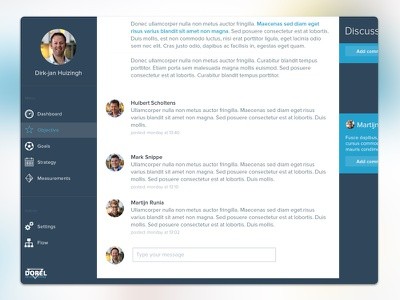 Detail shot of OGSM discussion board white tool graph dashboard clean app ux ui