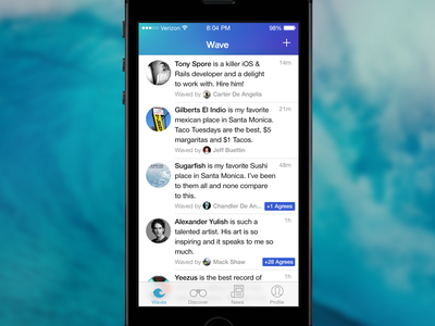 Wave wave app ios ios 7 social personal project