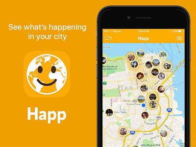 Happ yellow map social ios
