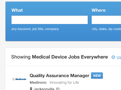 Candidate Side medical blue white jobs job board helvetica neue ui ux