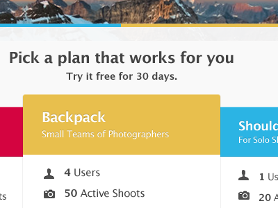 Shootsy Plans photography web app pricing plan