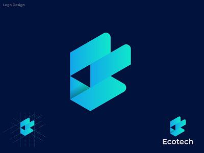 ET Modern logo design (Ecotech) lettermark unique logo art gradient design logo concept alphabet logo designer logos trend branding logo mark gradient logo modern colorful logotype logodesign logo