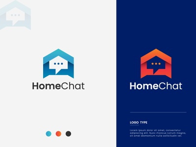 Chat Icon Logo. Home Chat. App icon concept gradient simple logo art vector app logo mark logo design unique trendy art colorful logo modern chat app icon design branding logo