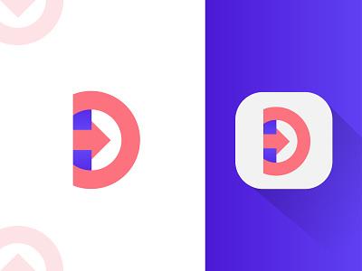 ( D + Arrow ) Logo Mark d arrow logo abstract logo best logo software logo modern minimalist branding logo android app icon brand identity branding agency app logo logo mark minimal logo app icon icon d letter d logo arrow modern logo logo