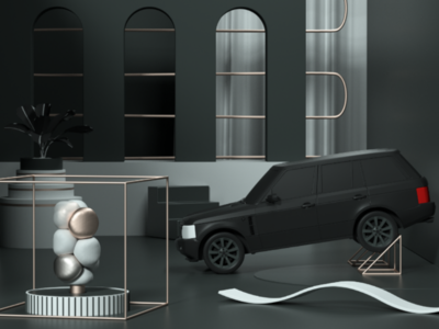 Set IV arquitecture render geometric car illustration 3d composition