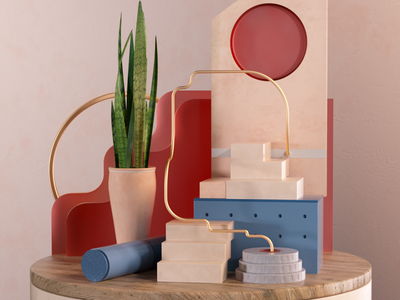 Details III still life architecture design 3d geometric set design set abstract illustration