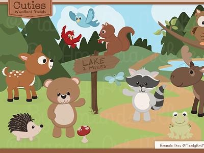 FREE!! Editable Woodland Character Set free illustration frog deer bear drawing freebie freebies illustrations cute illustrator