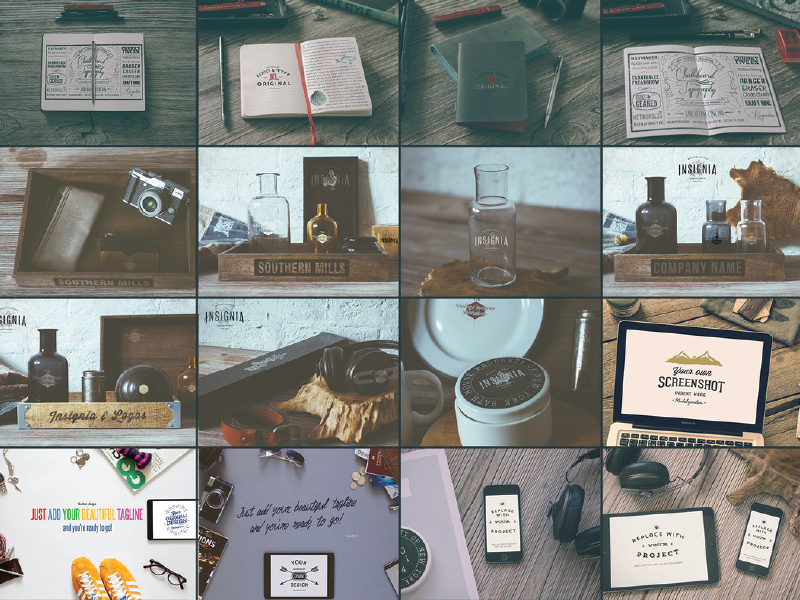 FREE!! 16 x PSD Mock Ups vintage retro photoshop smart objects psd mockups mock ups mock up