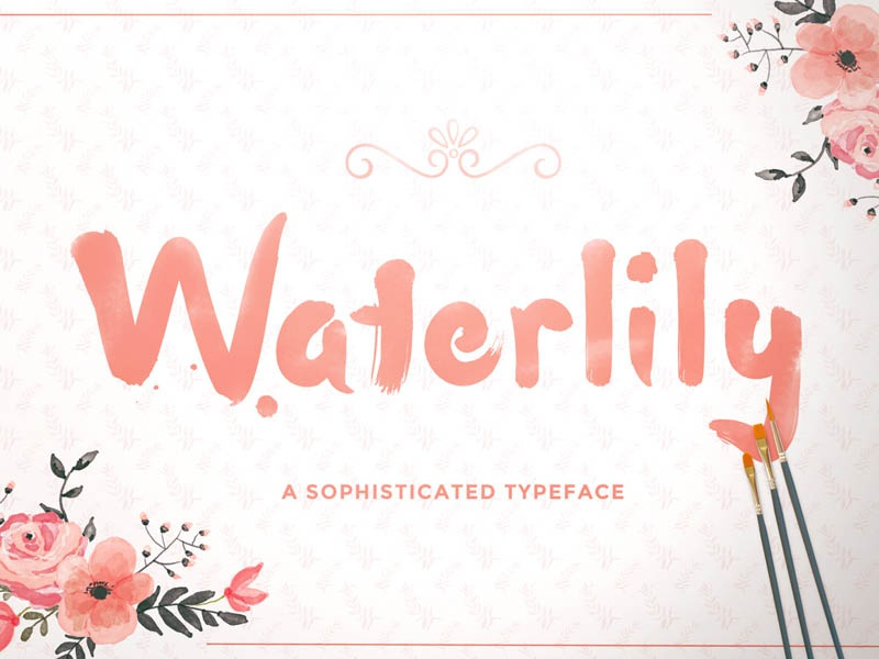 Free Waterlily Font bold hand drawn handdrawn gift download freebie fonts typeface free font