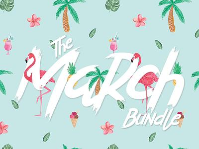 TheHungryJPEG's March Bundle floral flowers illustrations graphic design design bundle typeface script font bundle font