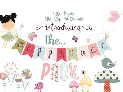 The Poppymoon Pack kids design fairies clipart digital paper graphic design design