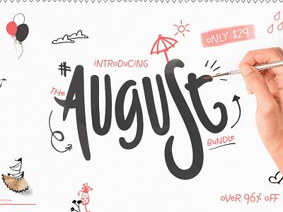 The Magnificent August Bundle crafter bundle watercolor bundle design bundle font bundle typeface font