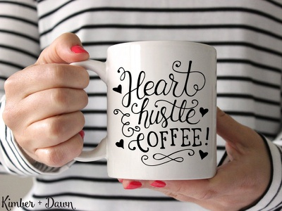 Heart, Hustle & Coffee - Free SVG Cut File  calligraphy typography cut file svg