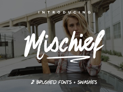This week's free font: Mischief with two brush fonts + swashes brush font poster font header font free typeface typeface free font font