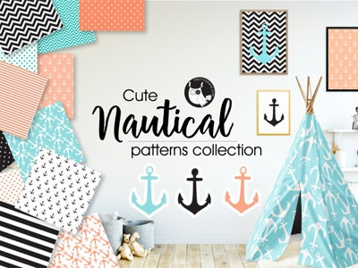 The FREE Nautical Patterns Collection free patterns seamless patterns patterns