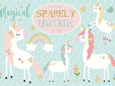FREE Sparkly Unicorns Clipart unicorn clipart unicorns