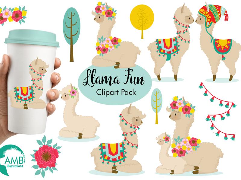 FREE Llama Fun Clipart Pack by TheHungryJPEG.com on Dribbble