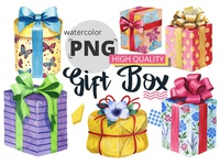 Free Watercolour Gift Boxes