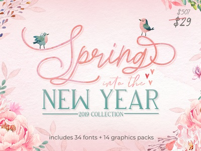 Spring into The New Year 2019 Collection illustration spring festival graphic artist crafters graphic design script fonts fonts designs crafts spring graphics